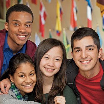international students in hall of nations
