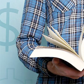 student with book and dollar signs